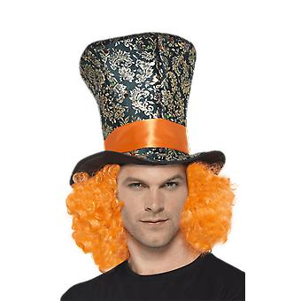 Mad Hatter Top Hat with Hair Alice In Wonderland Fancy Dress Costume Accessory