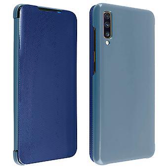 Flip case til Samsung Galaxy A70 gennemskinnelige stiv tynd og let klap-blå