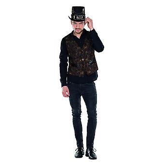 Steampunk veste marron en cuir mens cadran imprimé sur le costume de carnaval