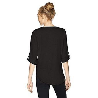 A. Byer Junior's Young Woman's Teen Zipper Placket Top,, Black, Size Medium