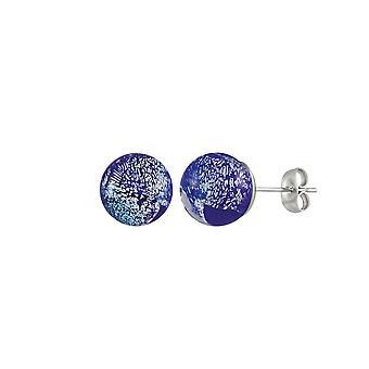 Wieczne kolekcja Bellissimo Kobalt niebieski brylant szkła Murano srebrnej tonacji Stud kolczyki Kolczyki