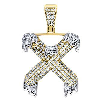 925 Sterling Silver Yellow tone Mens Women CZ Dripping Letter Name Personalized Monogram Initial X Charm Pendant Necklac