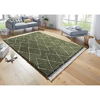 Design High Flor Rug Jade Olive Green Cream
