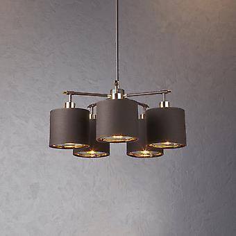 Elstead Beleuchtung Balance 5 Licht Kronleuchter In braun und poliert Messing