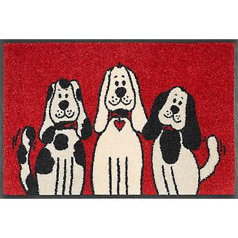 tvätt+torr dörrmatta Tre hundar 40 x 60 cm liten dörrmatta