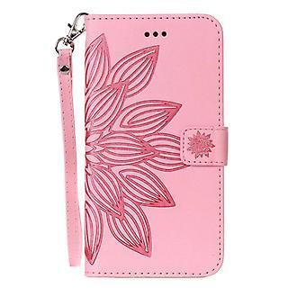 Tegnebog med præget blomst til iPhone 8