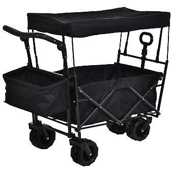 DURHAND Folding Trolley Cart Storage Wagon 4 Wheels w/ 2 Compartments Handle Overhead Canopy Cart Push Pull For Shopping Camping Garden- Black