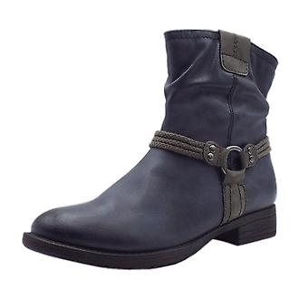 Soft Line 25461 Ancona Biker Style Wide Fit Boots In Navy