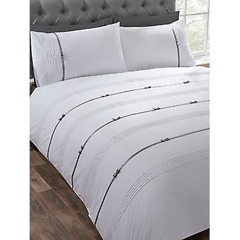 Funda de edredón Clarissa y juego de camas de funda de almohada - individual, blanco