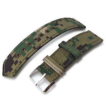 Strapcode fabric watch strap 20mm, 21mm or 22mm miltat ww2 2-piece woodland camo cordura 1000d watch band with lockstitch round hole, polished