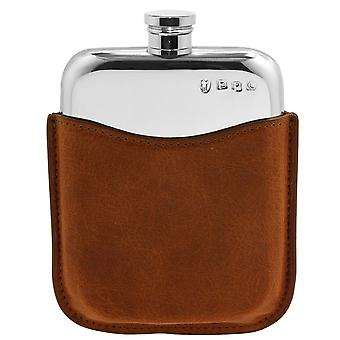 Plain Polished Pewter Purse Flask in Tan Leather Pouch - 6oz