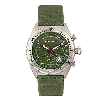Morphic M53 Series Chronograph Fiber-Weaved Leather-Band Watch w/Date - Silver/Olive