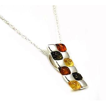 Toc Sterling Silver Tri-Colour Patchwork Pendant on 18 Inch Chain