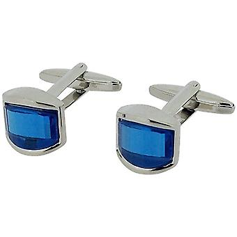Jakob Strauss Gents Silvertone Oblong Electric Blue Glass Set Cufflinks