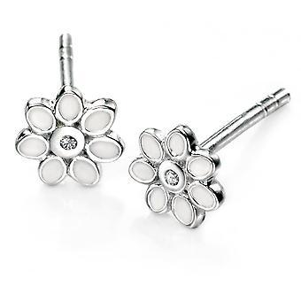 D pour Boucles d'oreilles En argent et fleurs blanches