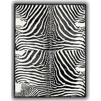 Rugs -Patchwork Leather Cubed Cowhide - Zebra Print 4 Pieces