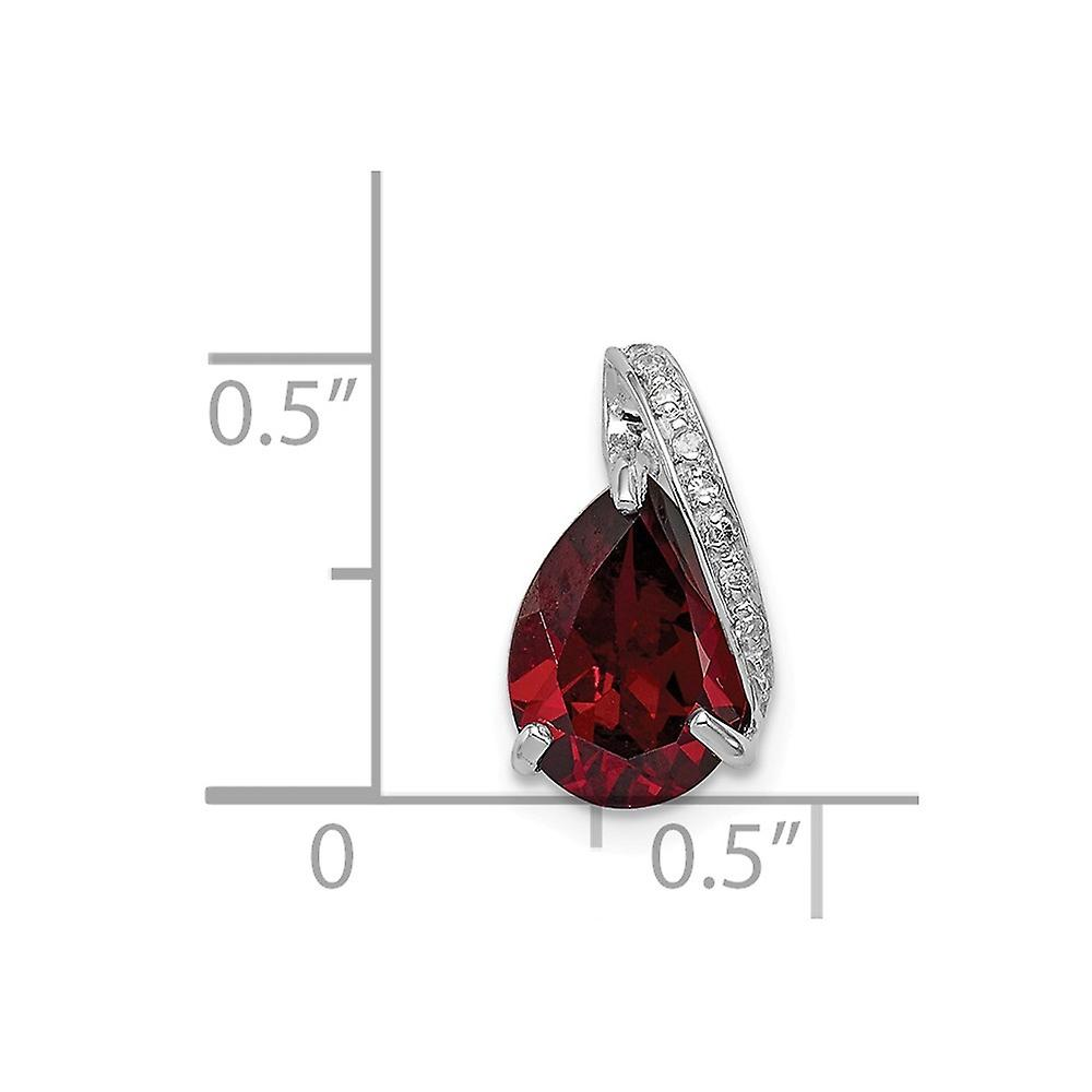 925 Sterling Silver Polished Prong set Open back Rhodium Pear Garnet Pendant Necklace Jewelry Gifts for Women