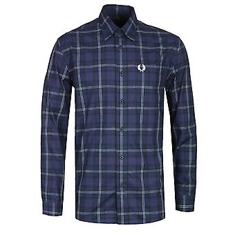 Fred Perry Button-Through Medieval Blue Tartan Shirt