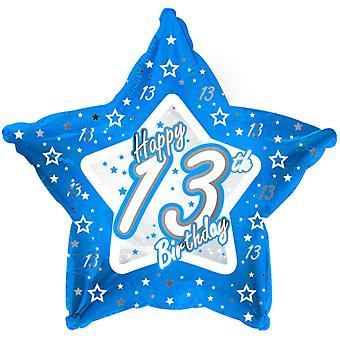 Creative Party Happy 13th Birthday Blue Star Balloon