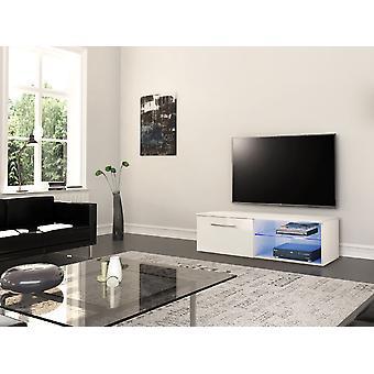 Mobile TV Tür Santiago Farbe weiß, glänzend weiß in Chip, MDF, Glas 120x45x37 cm