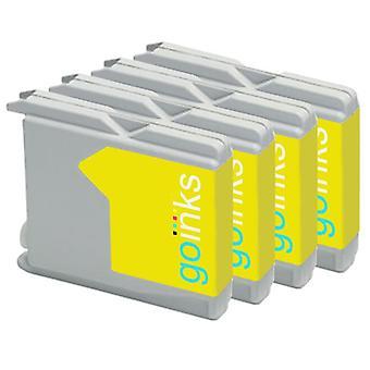 4 Gelbe Tintenpatronen ersetzen Brother LC970Y & LC1000Y Compatible/non-OEM by Go Inks