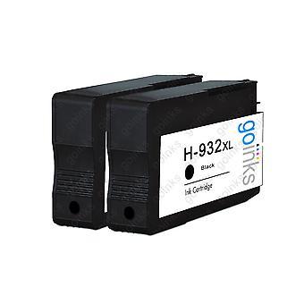 2 Go Blæk sort kompatible printerblækpatroner til udskiftning af HP 932Bk (XL Capacity) Kompatibel / ikke-OEM til HP Officejet-printere