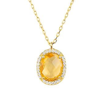 Yellow White Oval Beatrice Citrine Hydro Gemstone CZ Gift Gold Necklace Pendant