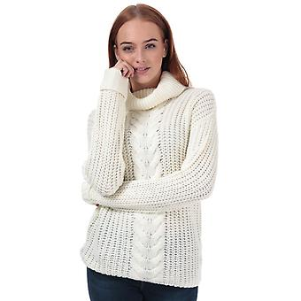Women's Brave Soul Roll Neck Cable Jumper in Cream