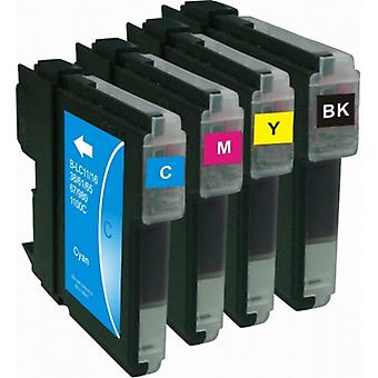 RudyTwos Replacement for Brother LC61/LC980/LC65/LC1100 Set Ink Cartridge Black Cyan Yellow & Magenta (4 Pack) Compatible with MFC-250C, MFC-255CW, MFC-290C, MFC-295CN, MFC-297C, MFC-490CN, MFCJ615W,