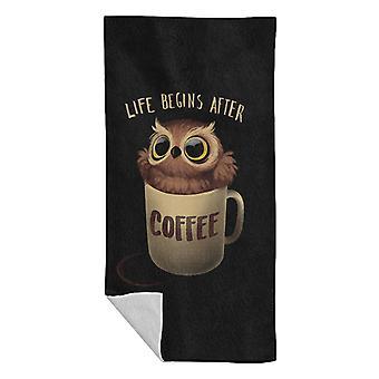 Life Begins After Coffee Night Owl Beach Towel