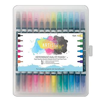Docrafts Artiste Permanent Dual-tip pens (12pk) Thick & Thin (DOA 851304)