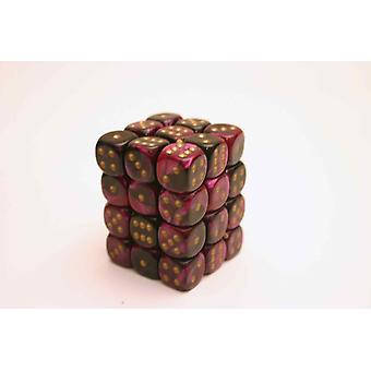 Chessex Gemini 12mm D6 Block - Black-Purple/gold