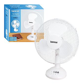 Benross 12 Pouces Desk Fan 40W Blanc