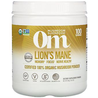 Om Mushrooms, Lion's Mane, Certified 100% Organic Mushroom Powder, 7.05 oz (200