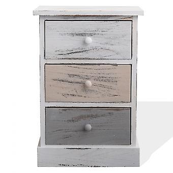 Rebecca Möbel komfortabel 3 weiße Holz Schubladen Beige Shabby Vintage 54 x 37 x 27