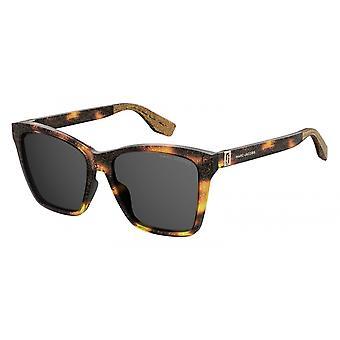 Sunglasses Women Rectangular Glitter Brown/Grey