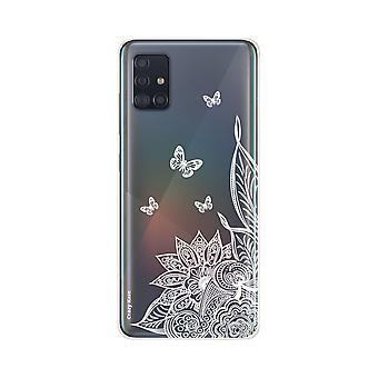 Coque Pour Samsung Galaxy A51 Souple Mandala Fleur Et Papillons Blanc