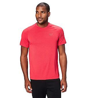 Peak Velocity Men's VXE Short Sleeve Quick-dry Loose-Fit T-Shirt, Threshold Red Heather, Medium