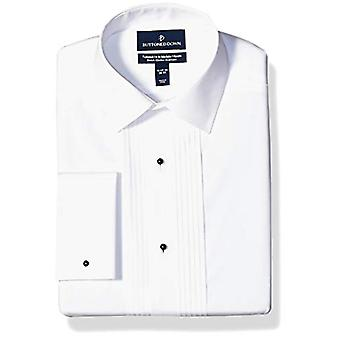 """Merk - Buttoned Down Men's Tailored Fit Easy Care Bib-Front Spread-Collar Tuxedo Shirt, Wit 16.5"""" Hals 32"""" Mouw"""