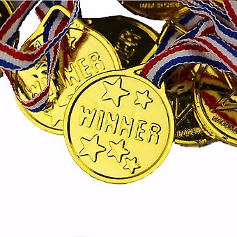 Plastic Gold Medals- Sports Prize Awards Kids Party, Fun Photo Props Supplies
