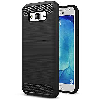 Soft Rubber Shell for Samsung Galaxy J3 Phone Silicone Mobile Protection Solid Color Black