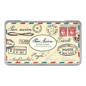 Cavallini Par Avion Vintage post merken Rubberstempel instellen Tin x 12