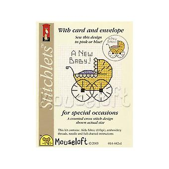 Unisex New Baby - Stitchlets Small Counted Cross Stitch Card Making Kit