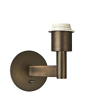 VäggMörk antik brons effektplatta 1 ljus dimbar IP20 - E27 (skugga säljs separat)