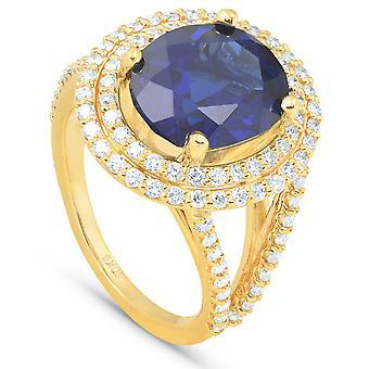 6 1/5 Ct ضخمة الماس البيضاوي البيضاوي الياقوت الأزرق الماس مزدوجة هالو رينغ الذهب الأصفر