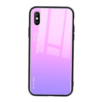 Stoff zertifiziert® iPhone X Case Gradient - TPU und 9H Glas - stoßfest glänzende Fall Abdeckung Cas TPU Pink