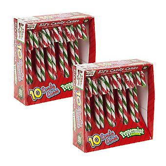 2 x 10 Peppermint Elf Candy Canes Sweets Christmas Gift Secret Santa Snack