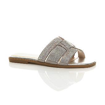 Ajvani naisten litteä lipsahdus nasta diamante kesä muulit sandaalit flip flops