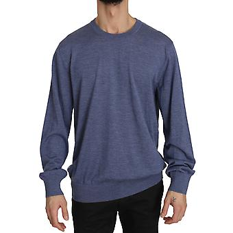 Dolce & Gabbana Blue Crew Neck Cashmere Pullover Sweater