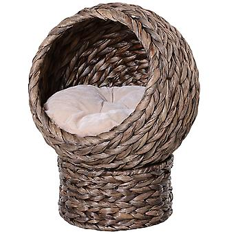 PawHut Woven Banana Leaf Elevated Cat Bed Wicker Kitten Basket Pet Den. House Cozy Cave with Soft Cushion Dome 42x33x52cm Dark Brown